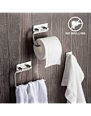 Set de accesorios de baño de 3 piezas: Toallero, Portarrollo de papel higiénico,