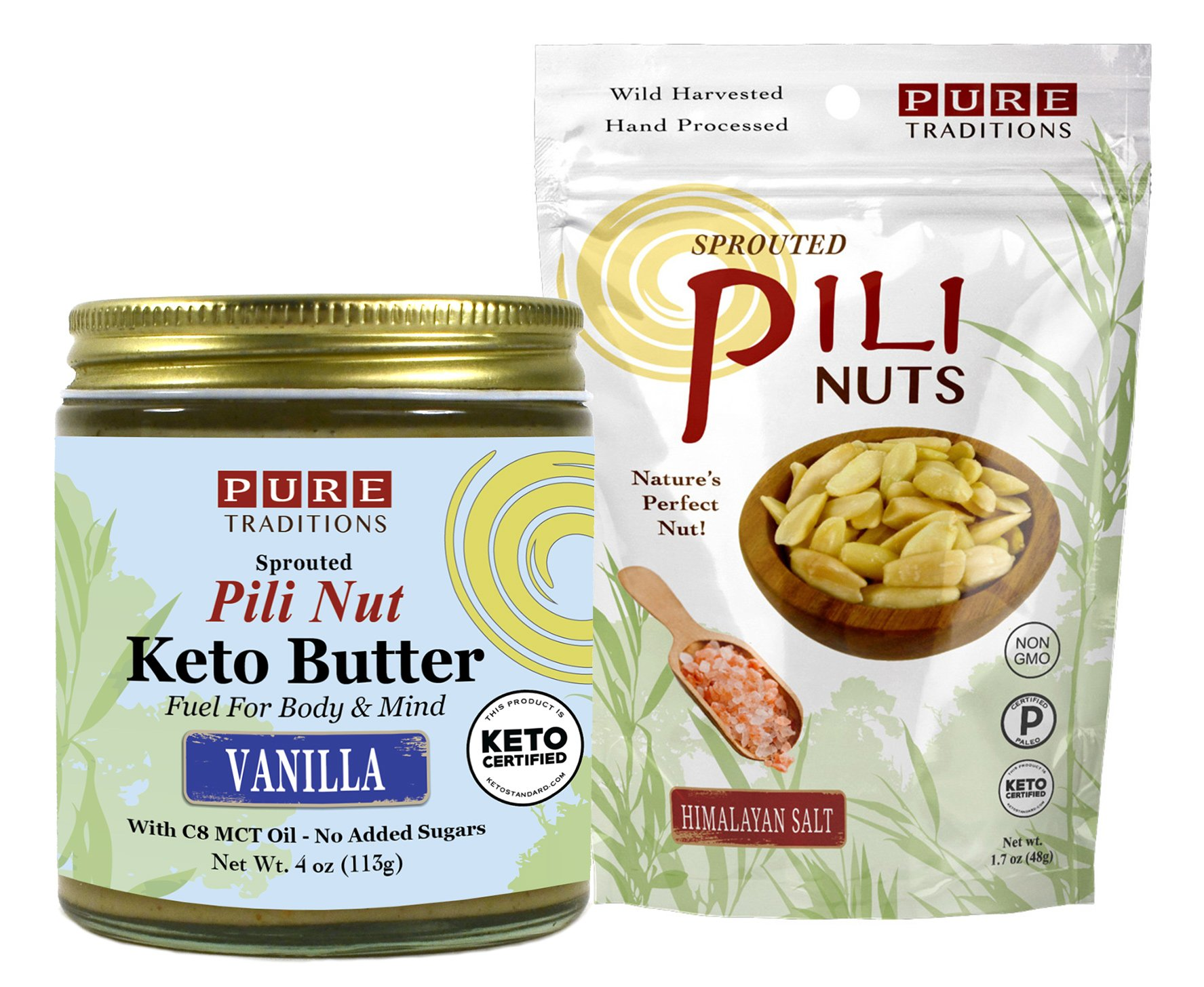 Pili Nut Keto Butter, Vanilla (4 oz) plus Sprouted Pili Nuts, Himalayan Salt (1.7 oz)