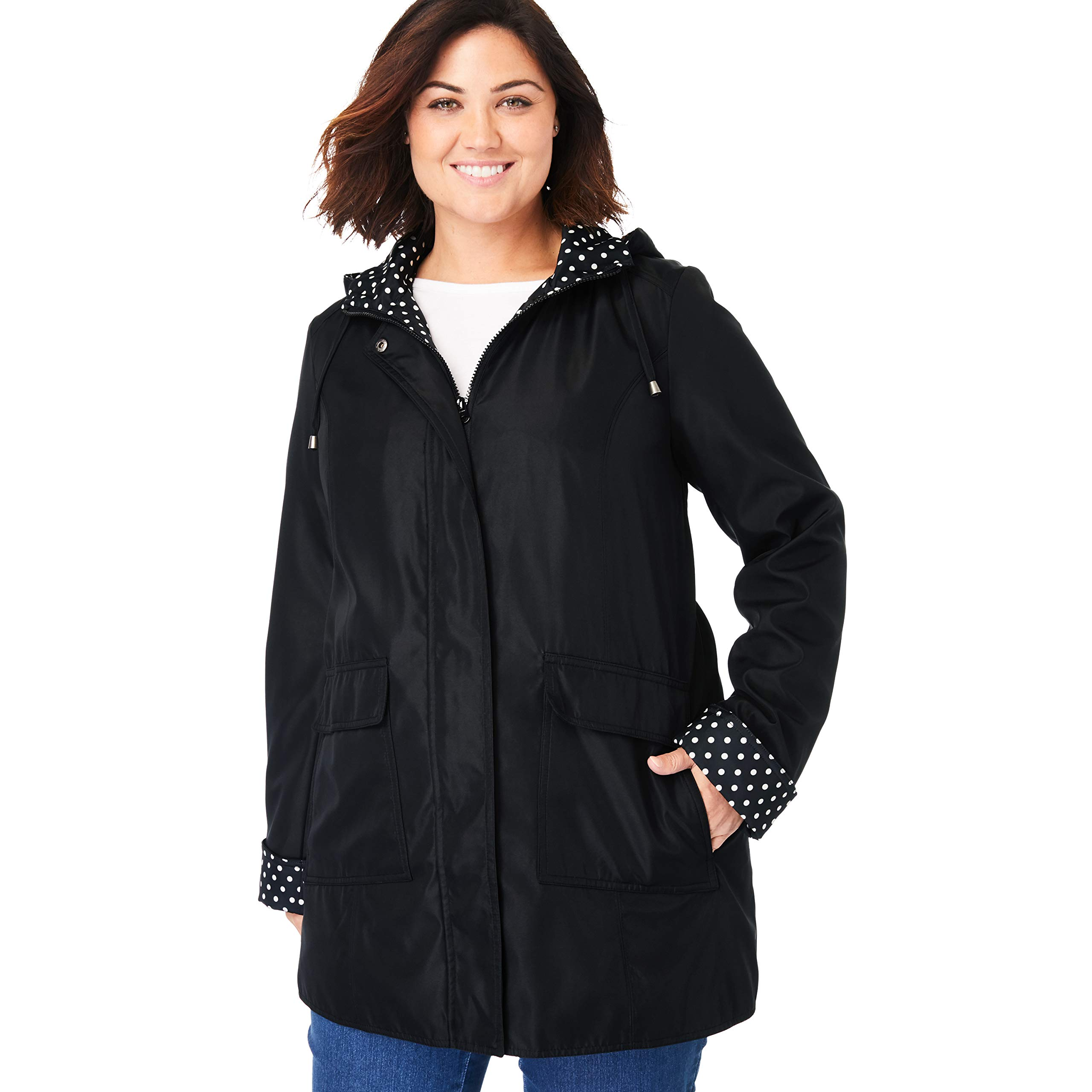 Woman Within Women's Plus Size Raincoat in New Short Length with Fun Dot Trim - Black, 22 W by Woman Within