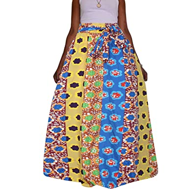 2e3def484 Amazon.com: HAOOHU Women African Print Plus Size High Waist Ankara Maxi  Skirt S-3XL: Clothing