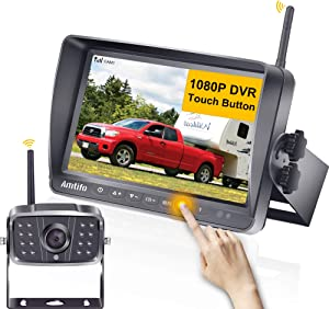 AMTIFO A8 FHD 1080P RV Wireless Backup Camera with 7'' Touch Key DVR Split Screen Monitor Rear Observation System for RVs,Trailers,5th Wheels,IR Night Vision,IP69 Waterproof Camera with Stable Signal