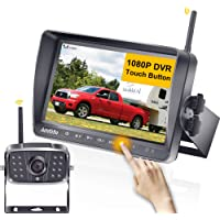 AMTIFO A8 FHD 1080P RV Wireless Backup Camera with 7'' Touch Key DVR Split Screen Monitor Rear Observation System for…