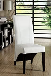 furniture of america marcello highback leatherette dining chair white set of 2 - White Wood Dining Chairs
