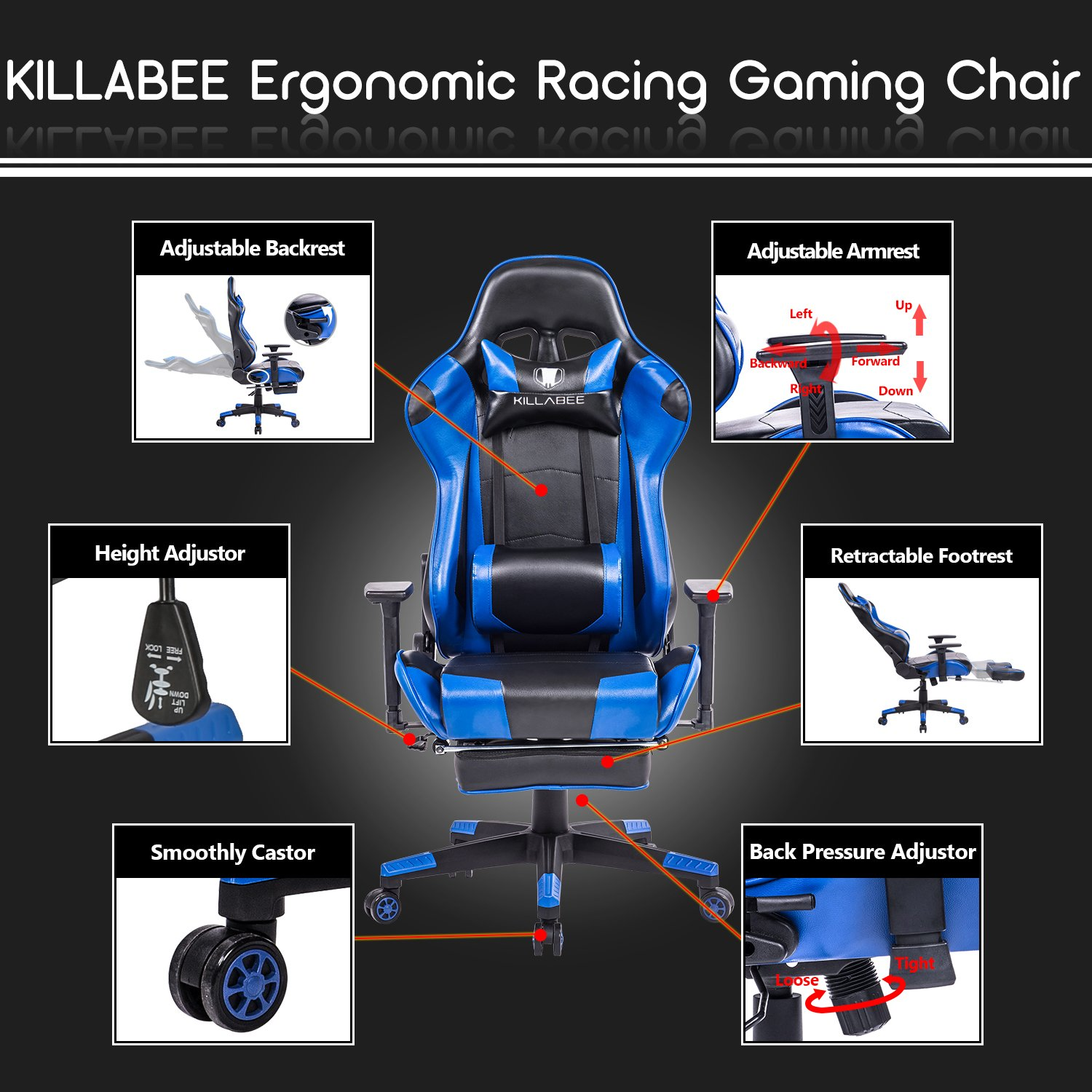 Marvelous Amazon Com Killabee Racing Style Gaming Chair With Footrest Unemploymentrelief Wooden Chair Designs For Living Room Unemploymentrelieforg