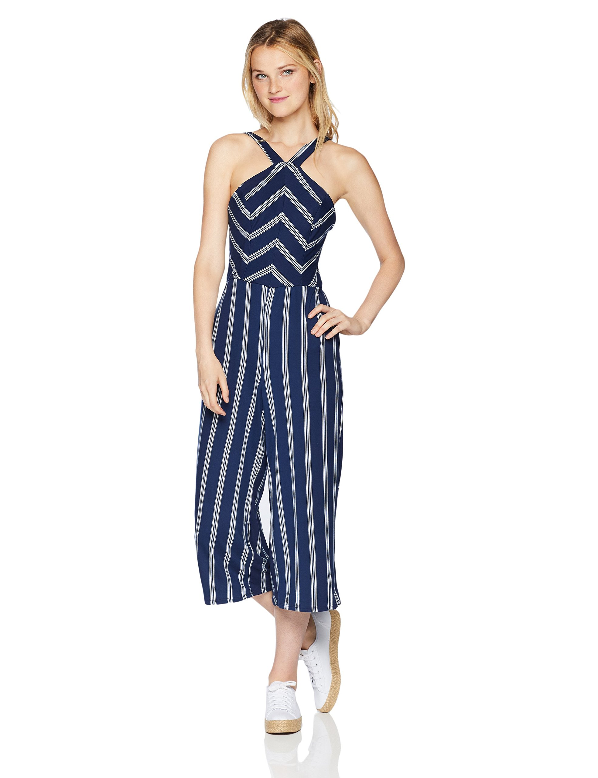 A. Byer Junior's Young Woman's Teen Full-Length Jumpsuit Romper, Navy Stripe, S