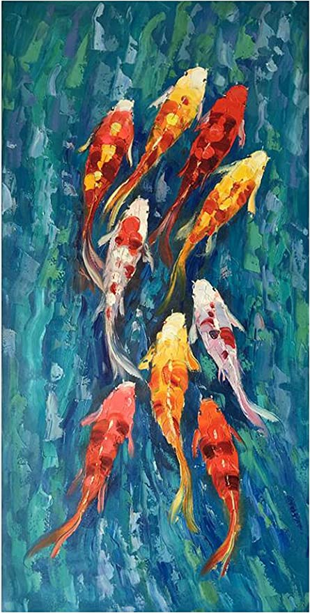 Amazon Com Wall Art Picture Hd Print Chinese Abstract Nine Koi Fish Landscape Oil Painting On Canvas Poster For Living Room Modern Decor 35x70cm Unframed Pc1854 Posters Prints