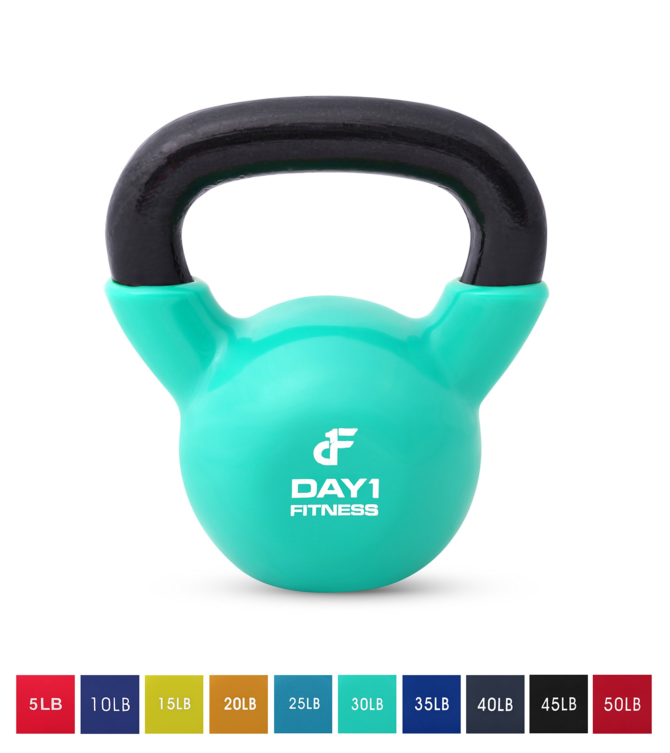 Day 1 Fitness Kettlebell Weights Vinyl Coated Iron 30 Pounds - Coated for Floor and Equipment Protection, Noise Reduction - Free Weights for Ballistic, Core, Weight Training by Day 1 Fitness (Image #1)