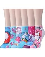 Epeius 6 Pairs Girls/Womens Cartoon Unicorn No Show Socks