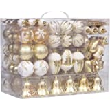 Sea Team 155-Pack Assorted Shatterproof Christmas Ball Ornaments Set Decorative Baubles Pendants with Reusable Hand-held Gift Package for Xmas Tree (Gold)