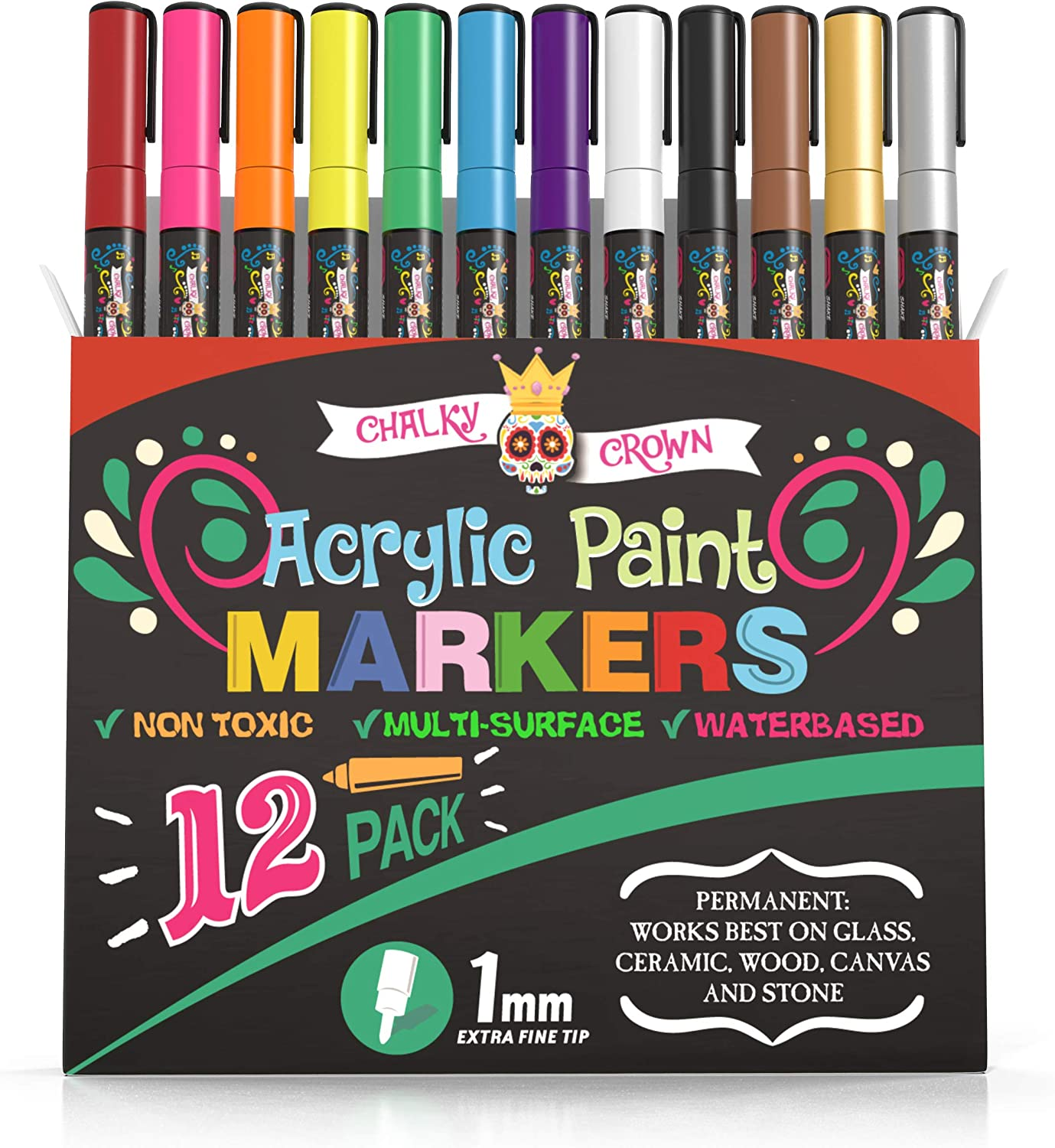 Acrylic Paint Markers - Acrylic Paint Pens for Rock Painting, Stone, Ceramic, Glass, Wood, Canvas - 1mm Fine Tip Paint Pens (12 Pack)