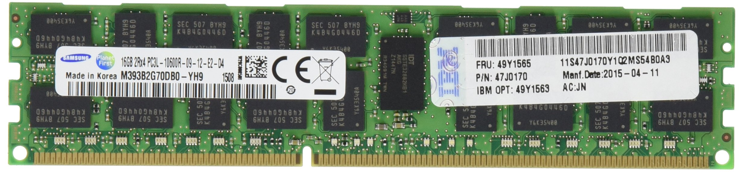 IBM 16 GB 2Rx4 1.35V PC3L-10600 1333MHz Memory Module 49Y1563 by IBM
