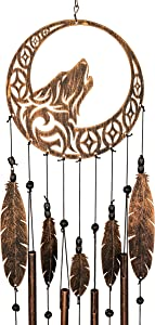 VP Home Tribal Wolf Dreamcatcher Outdoor Garden Decor Wind Chime (Rustic Copper)