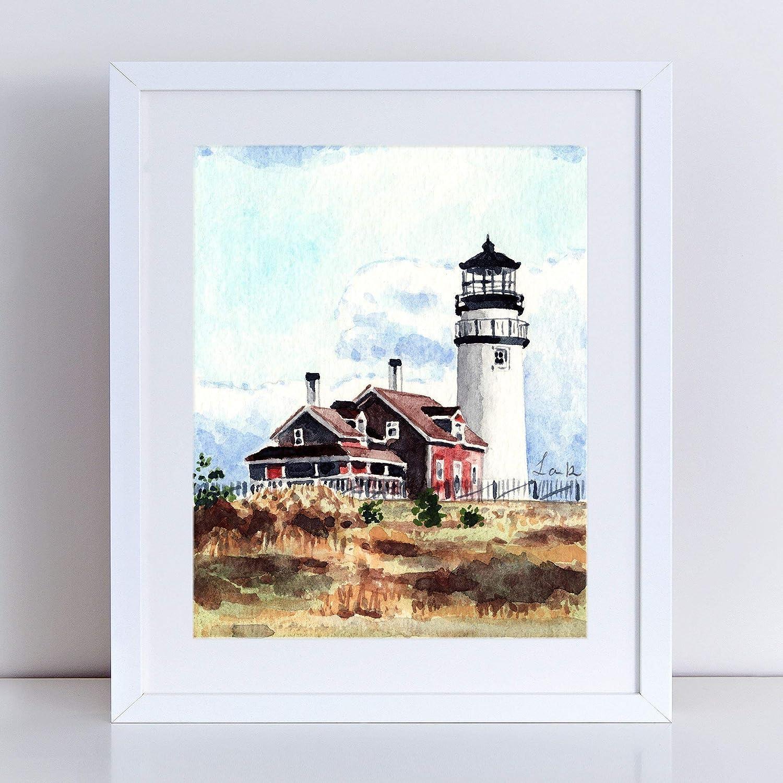 Cape Cod Lighthouse Art Print Watercolor Painting Wall Home Decor Highland  Light House Beach House Coastal Preppy New England Architecture Coast