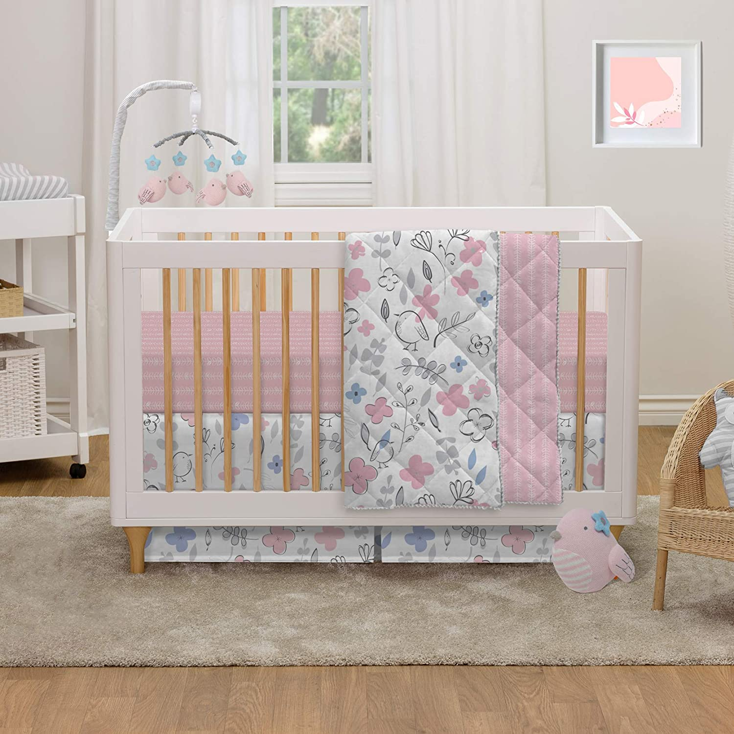 Lolli Living 4-Piece Cotton Baby Crib Bedding Set with Pink Mazie Flower and Bird Pattern.Complete Set with Comforter, 2 Fitted Sheets, and Bed Skirt.