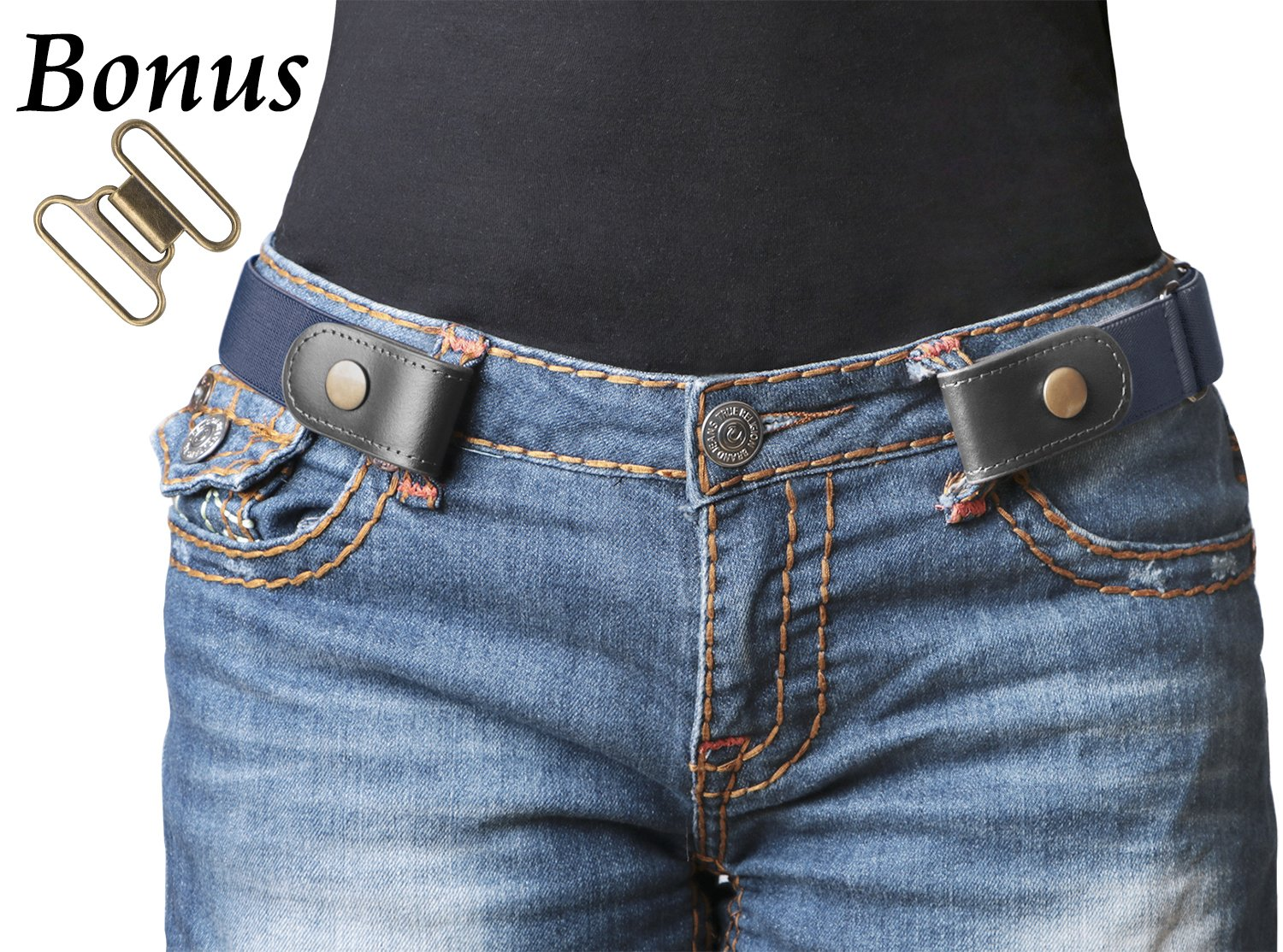 No Buckle Stretch Belt For Women/Men Elastic Waist Belt Up to 48 for Jeans Pants