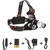 Boruit Tactical LED Head Headlight Torch Lamp Lights Headlamps for Hunting Night Fishing