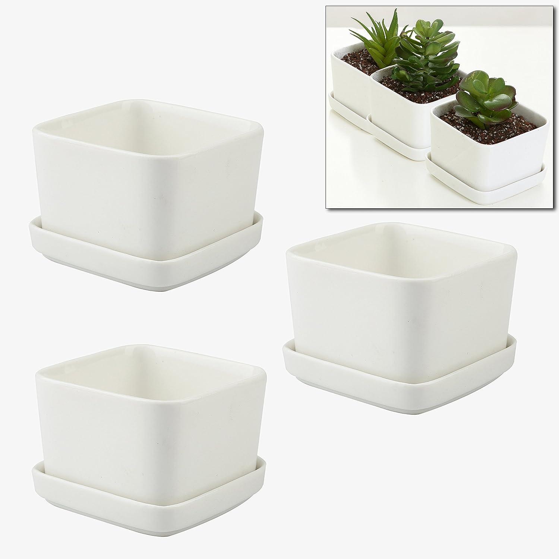 Mygift 3 5 inch ceramic flower planters succulent plant for 6 ceramic flower pots