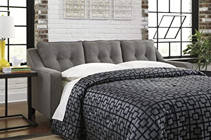 Benchcraft Brindon Contemporary Sofa Sleeper   Queen Size Mattress And  Throw Pillows Included   Charcoal