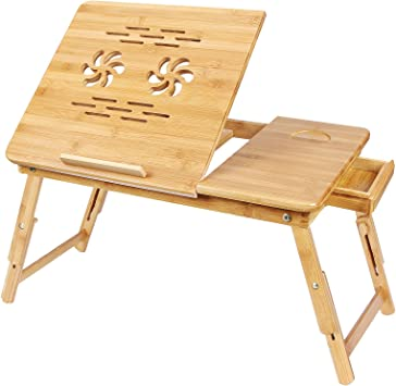 Amazon.com: SONGMICS, bandeja para cama de bambú y ...