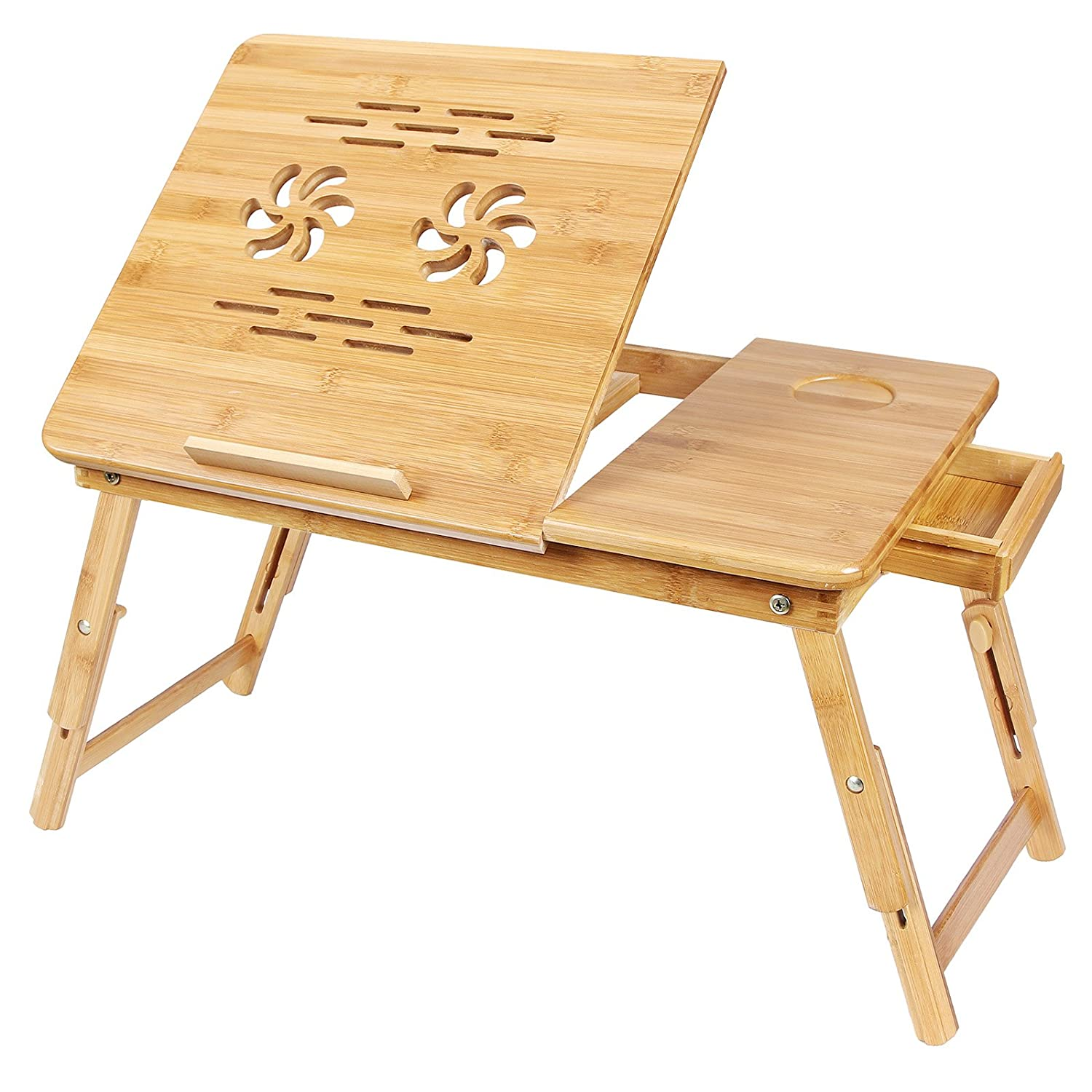 SONGMICS Bamboo Laptop Desk Serving Bed Tray Breakfast Table Tilting Top with Drawer ULLD001