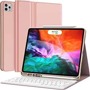 Keyboard Case for iPad Pro 12.9 2020 4th Generation, iPad Pro 12.9 Case with Keyboard 3rd Generation 2018 - Wireless Detachable - with Pencil Holder - Stand Cover - iPad Pro 12.9 Keyboard, Rose Gold