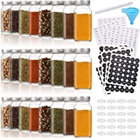 Aozita 24 Pcs Glass Spice Jars/Bottles - 6oz Empty Square Spice Containers with 612 Spice Labels - Shaker Lids and…