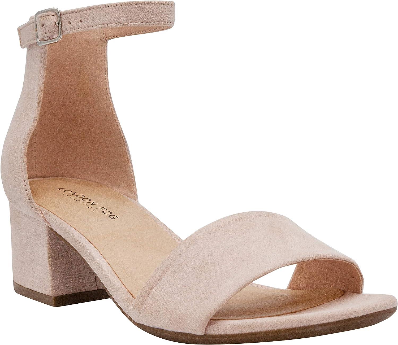 LONDON FOG Women's Nikki Low Two Piece Block Heel Dress Shoe Ladies Ankle Strap Pump Sandal