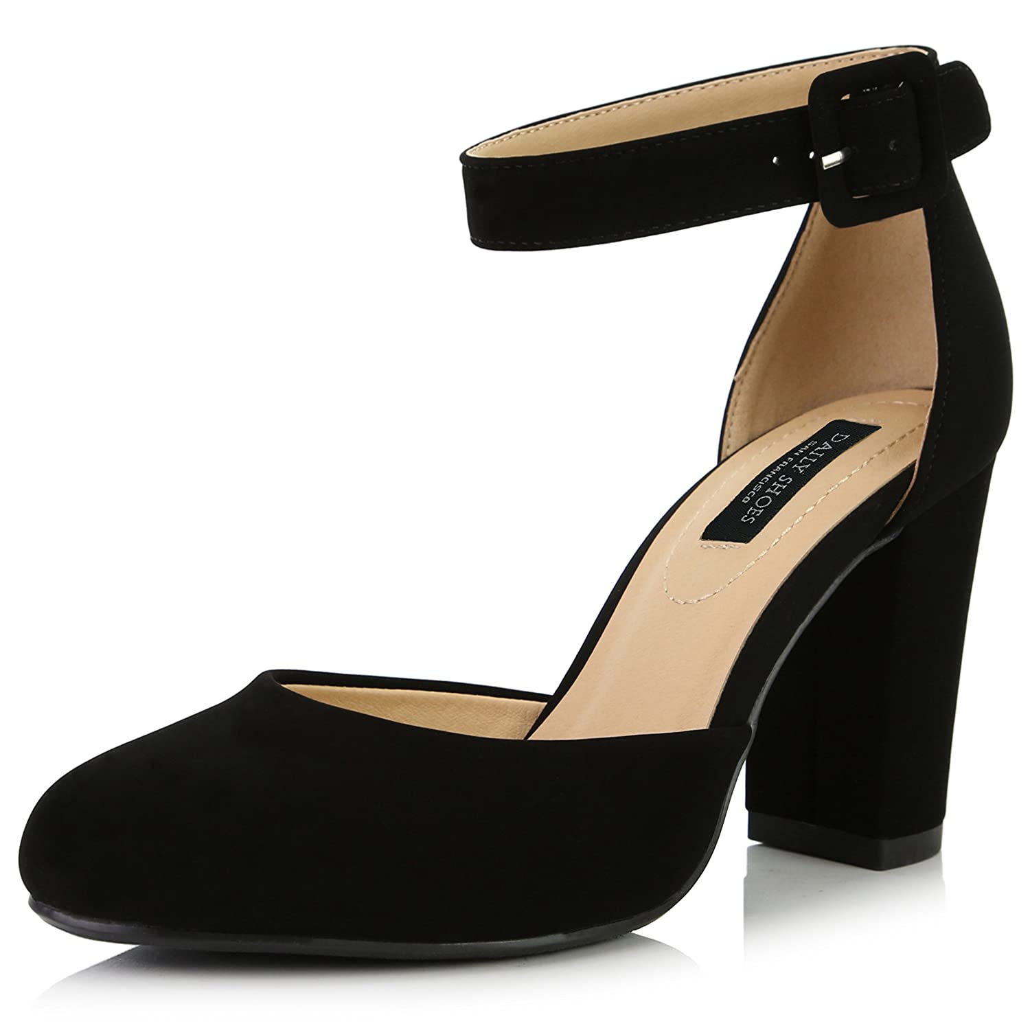 Vintage Style Shoes, Vintage Inspired Shoes DailyShoes Womens Chunky Heel Round Toe Ankle Strap Pumps Shoes $39.99 AT vintagedancer.com