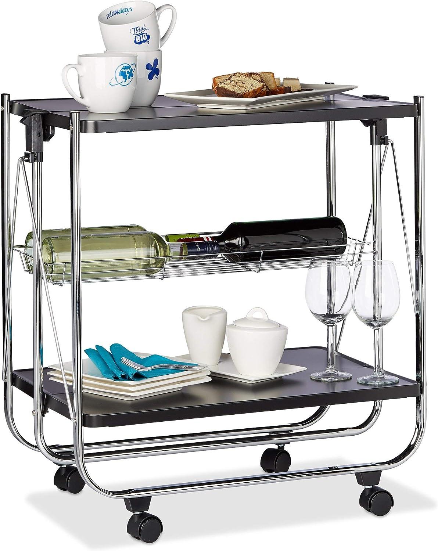Acero Blanco 68,5 x 68 x 40,5 cm Cesto de Rejilla y 2 Baldas Relaxdays Camarera Plegable para Cocina con 4 Ruedas
