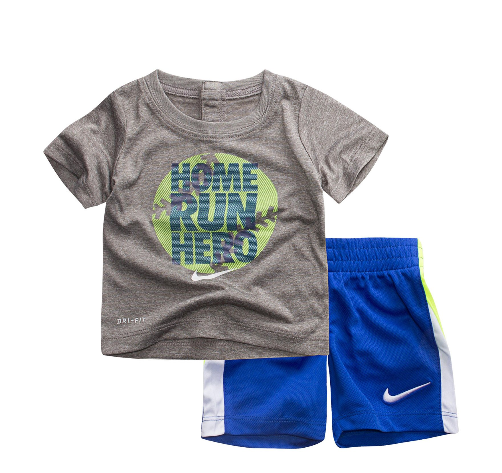 NIKE Toddler Boys' Dri Fit Short Sleeve T-Shirt and Short 2 Piece Set (Dark Grey Heather(86D266-042)/Blue, 4)