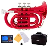 Mendini MPT-RL Red Lacquer Brass Bb Pocket