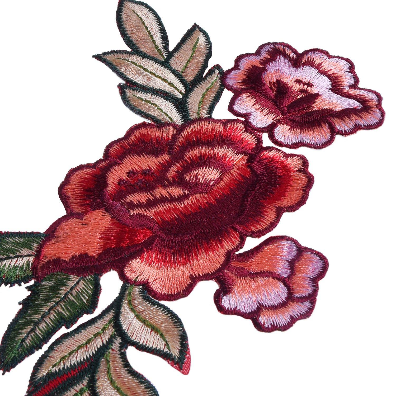 BBTO 4 Piezas Parches Bordado Apliques Parches de Flores Parches Termoadhesivos Parches Floral de Peonía de Costura para Manualidades DIY Decoración ...
