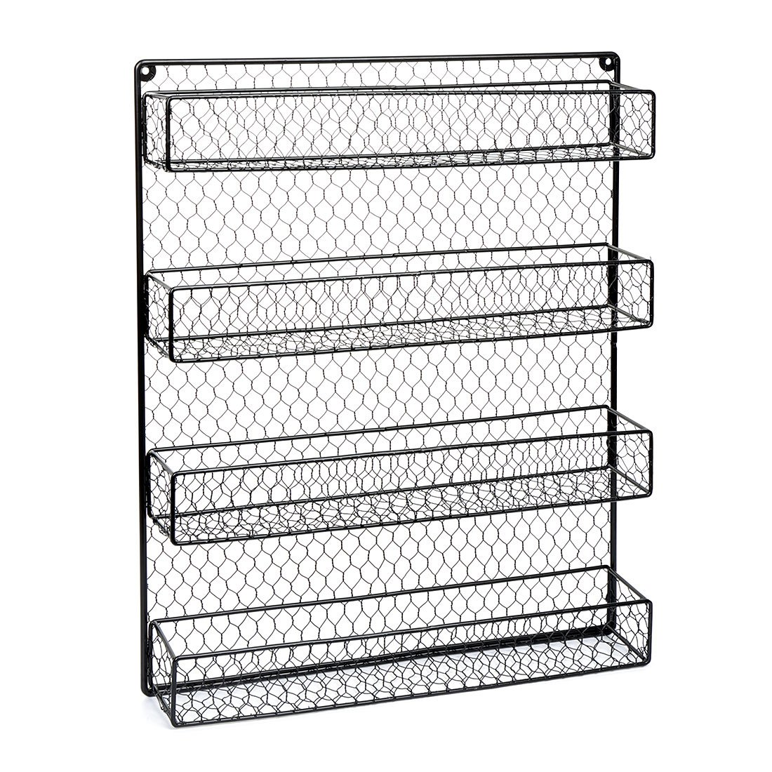 BestValue Go BestValue Go 4 Tier Black Spice Rack Organizer Great Storage for Pantry, Cabinet and Kitchen Country Rustic Chicken Wire Pantry