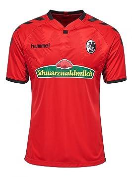 Hummel SC Freiburg SCF Camiseta de fútbol Home 2017 2018 Niños Manga Corta Rojo Negro,