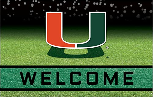 NCAA University of Miami Hurricanes Heavy Duty Crumb Rubber Door Mat