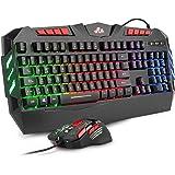 Rii RK900+ Teclado Gaming con sensibilidad mecánica Completo,Combo de Teclado y ratón con Cable,Diseño Gaming Multicolor…