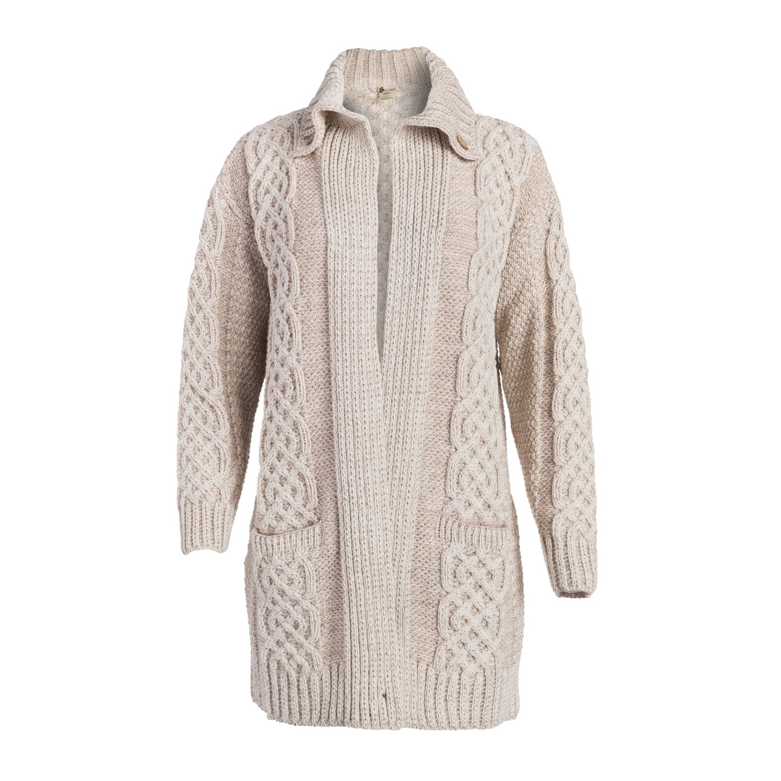 Boyne Valley Knitwear Ladies Celtic Fall Wool Cable Coat Cardigan (Medium, White/Wicker)