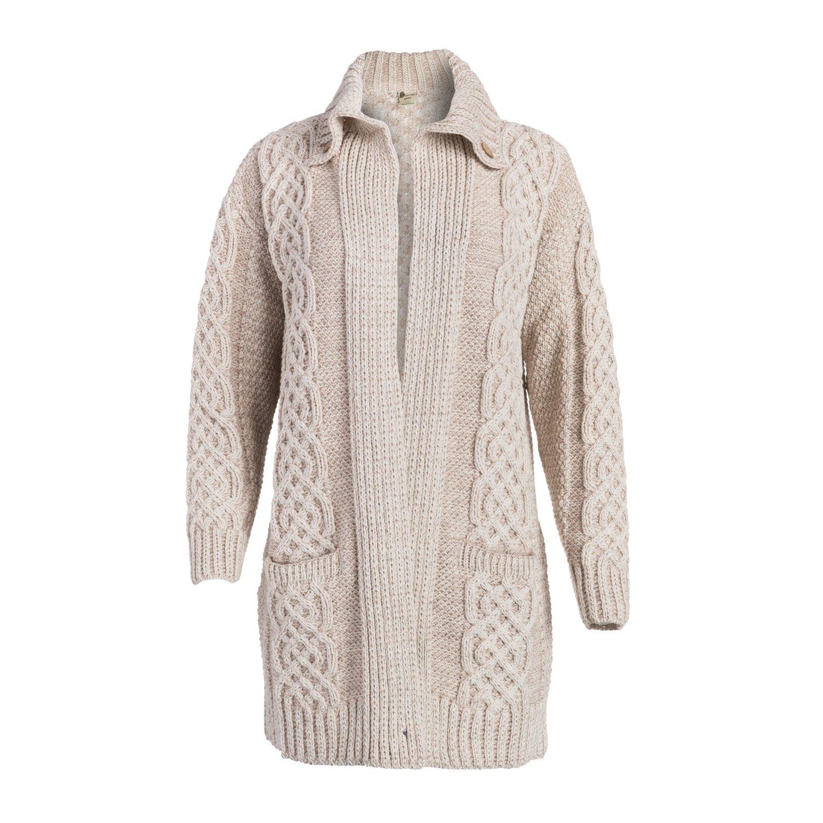 Boyne Valley Knitwear Ladies Celtic Fall Wool Cable Coat Cardigan (Medium, White/Wicker) by Boyne Valley Knitwear