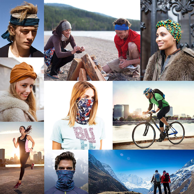 iOutdoor Products 5pcs cappelleria multifunzionale sudore-assorbente sciarpa fascia senza cuciture traspirante elastico in esecuzione protezione UV Bandana per uomo e donna