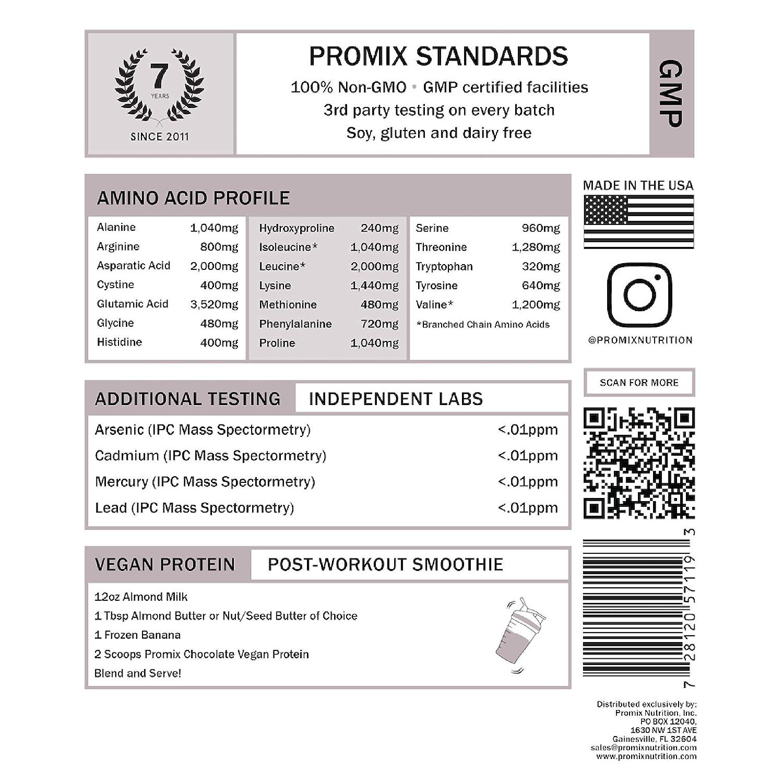 PROMIX Vegan Protein Powder | Dairy Free, Non GMO, Gluten Free, Organic (5 Pound, Raw Chocolate)