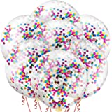 10 Pieces 36 Inch Jumbo Confetti Balloons Round Latex Balloons Multicolor Sequin Balloons for Birthday Wedding Engagement Par