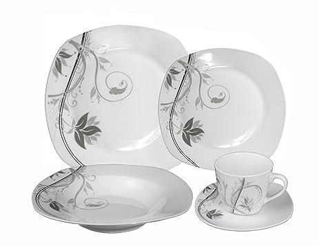 Lorenzo Import Porcelain 20-Piece Square Dinnerware Set Service for 4 Grey  sc 1 st  Amazon.com & Amazon.com | Lorenzo Import Porcelain 20-Piece Square Dinnerware ...
