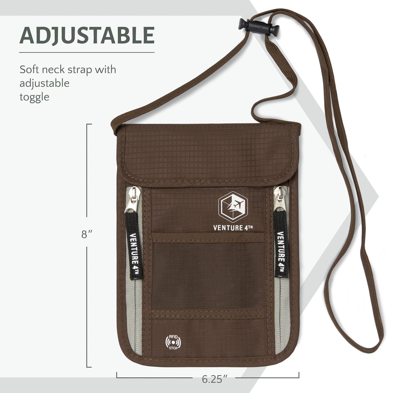 Venture 4th Passport Holder Neck Pouch With RFID – Safety Passport Pouch (Brown) by VENTURE 4TH (Image #3)