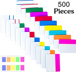 500 Pieces Tabs 2 Inch Sticky Index Tabs, Writable and Repositionable File Tabs Flags Colored Page Markers Labels for Reading Notes, Books and Classify Files, 21 Sets 10 Colors