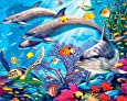 EOBROMD 5D Diamond Painting Kits, DIY Rhinestone Embroidery Cross Stitch Arts Craft for Home Wall Decor Full Drill Sea Animals 12x16inch