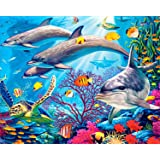 5D Diamond Painting Kits, DIY Rhinestone Embroidery Cross Stitch Arts Craft for Home Wall Decor Full Drill Sea Animals 12x16inch