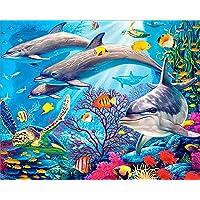 5D Diamond Painting Kits, DIY Rhinestone Embroidery Cross Stitch Arts Craft for Home Wall Decor Full Drill Sea Animals 12x16inch
