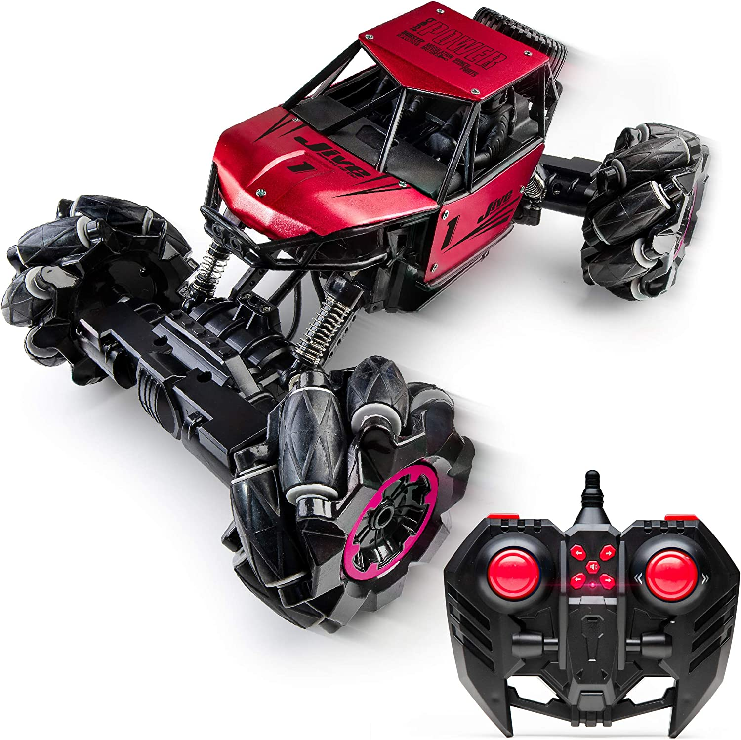 Power Your Fun Jive Dancing Car - Remote Control Monster Truck, RC Crawler 4x4, Stunt Cars for Kids, Red