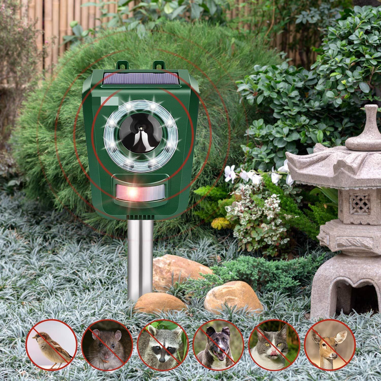 INTEY Solar Outdoor Ultrasonic Animal Repellent