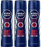 Nivea For Men Dry Impact Deodorant Spray 150ml Pack 3